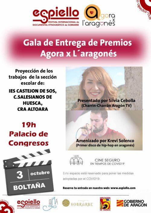 Cartel Gala de Entrega de Premios Agora x l'aragonés